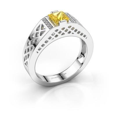 Foto van Heren ring Jonathan 925 zilver gele saffier 5 mm