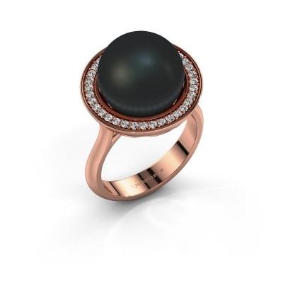 Foto van Ring Grisel 375 rosé goud zwarte parel 12 mm