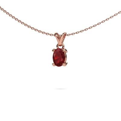 Foto van Ketting Lucy 1 375 rosé goud robijn 7x5 mm