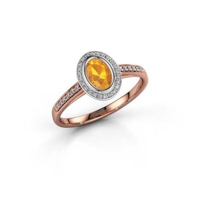 Engagement ring Noud 2 OVL 585 rose gold citrin 6x4 mm
