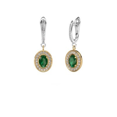 Picture of Drop earrings Layne 2 585 gold emerald 7x5 mm