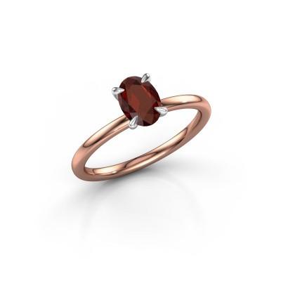 Foto van Verlovingsring Crystal OVL 1 585 rosé goud granaat 7x5 mm