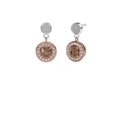 Foto van Oorbellen Ebonie 585 rosé goud bruine diamant 1.479 crt