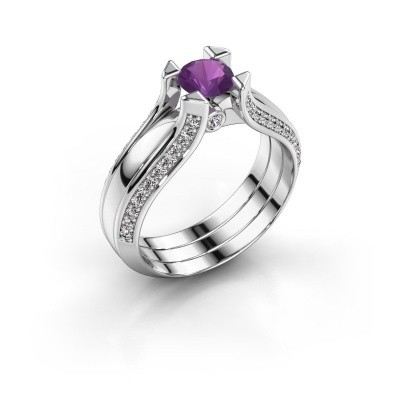 Engagement ring Nadine 925 silver amethyst 5 mm