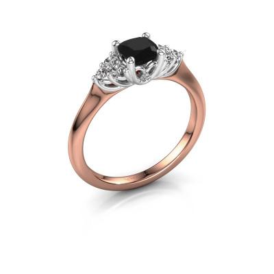 Verlovingsring Felipa CUS 585 rosé goud zwarte diamant 0.893 crt
