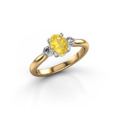 Foto van Verlovingsring Lieselot OVL 585 goud gele saffier 7x5 mm