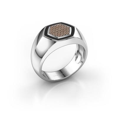 Heren ring Kris 950 platina bruine diamant 0.248 crt