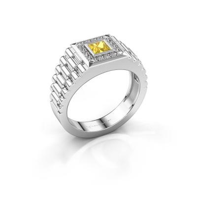 Foto van Heren ring Zilan 585 witgoud gele saffier 4 mm
