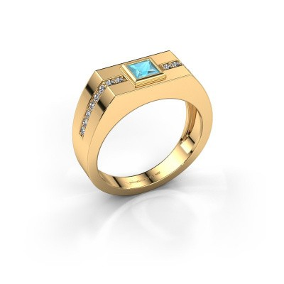 Herrenring Robertus 2 375 Gold Blau Topas 4 mm