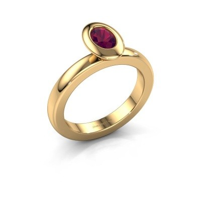 Stacking ring Trudy Oval 585 gold rhodolite 6x4 mm