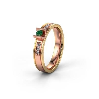 Trouwring WH2108L14A 585 rosé goud smaragd ±4x1.7 mm