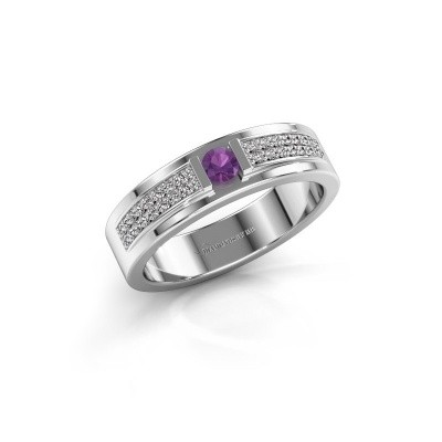 Ring Chanell 585 witgoud amethist 3 mm