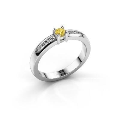 Verlovingsring Zohra 925 zilver gele saffier 3 mm