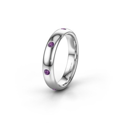 Wedding ring WH0105L34BP 375 white gold amethyst ±0.16x0.08 in