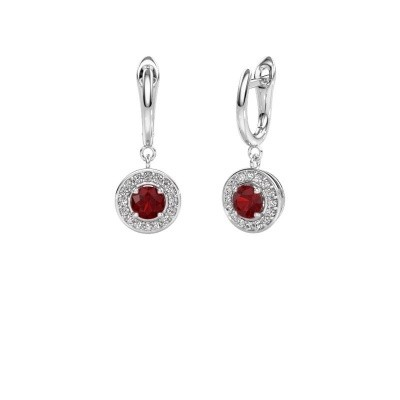 Drop earrings Ninette 1 950 platinum ruby 5 mm