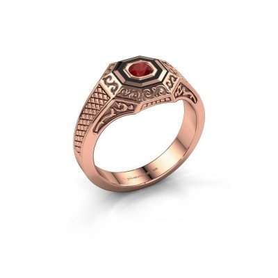 Foto van Heren ring Dion 375 rosé goud robijn 4 mm