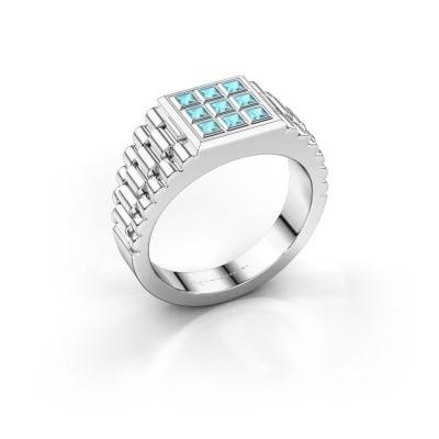 Foto van Heren ring Chavez 925 zilver blauw topaas 2 mm