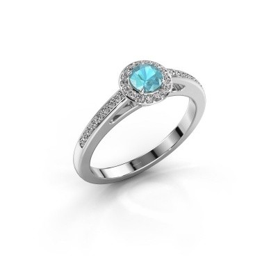 Engagement ring Aaf 585 white gold blue topaz 4.2 mm