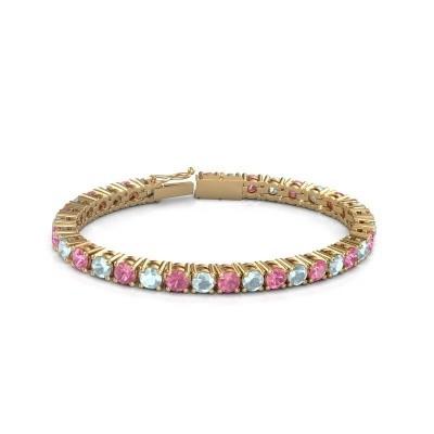 Tennisarmband Ming 375 goud roze saffier 5 mm
