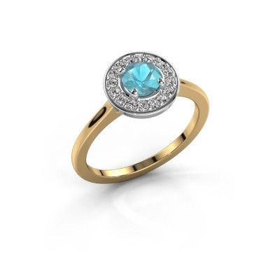 Ring Agaat 1 585 goud blauw topaas 5 mm