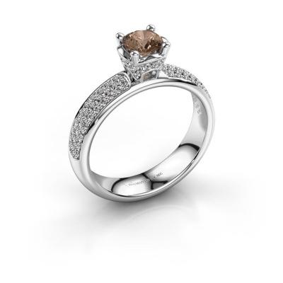 Aanzoeksring Ecrin 950 platina bruine diamant 0.989 crt