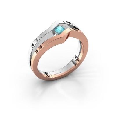 Foto van Ring Elize 585 rosé goud blauw topaas 3.4 mm