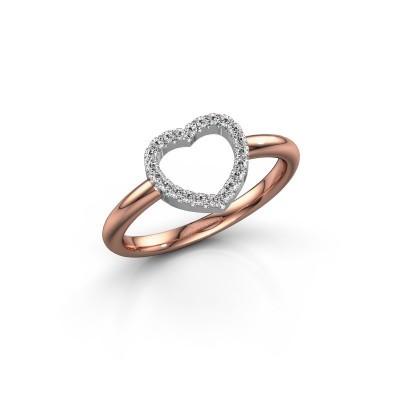Foto van Ring Heart 7 585 rosé goud diamant 0.11 crt