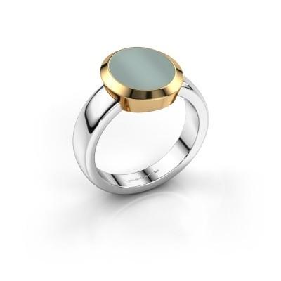 Signet ring Oscar 3 585 white gold green sardonyx 12x10 mm