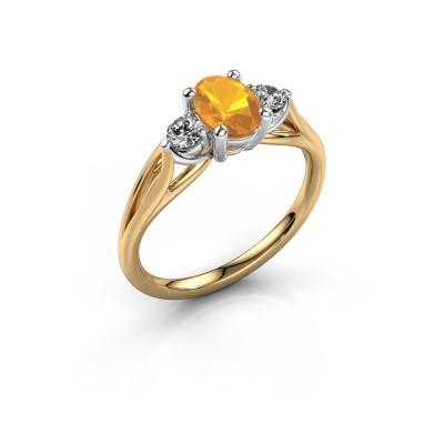 Verlovingsring Amie OVL 585 goud citrien 7x5 mm