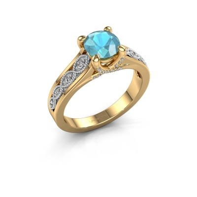 Engagement ring Clarine 585 gold blue topaz 6.5 mm