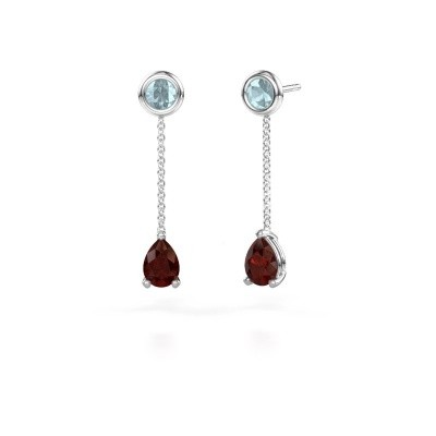 Picture of Drop earrings Laurie 3 585 white gold garnet 7x5 mm