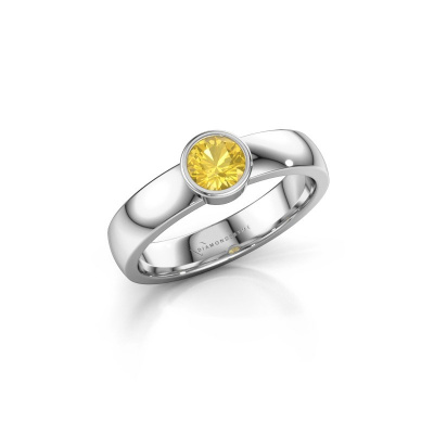 Ring Ise 1 585 white gold yellow sapphire 4.7 mm