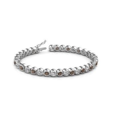 Tennis bracelet Bianca 585 white gold smokey quartz 4 mm