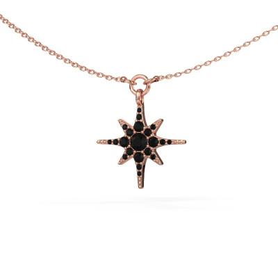Halsketting Star 585 rosé goud zwarte diamant 0.348 crt