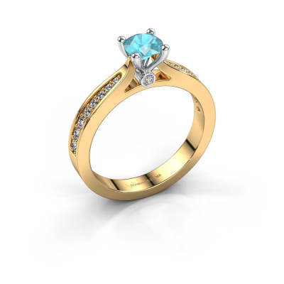 Engagement ring Evelien 585 gold blue topaz 5 mm