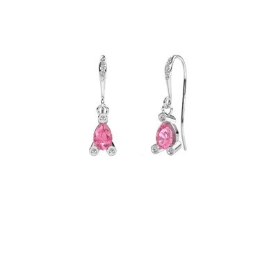 Picture of Drop earrings Bunny 2 950 platinum pink sapphire 7x5 mm
