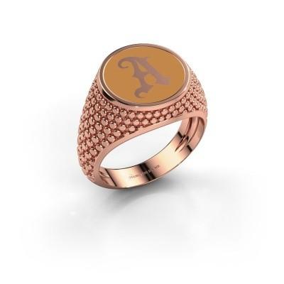 Foto van Monogram ring Zachary 375 rosé goud gele emaille