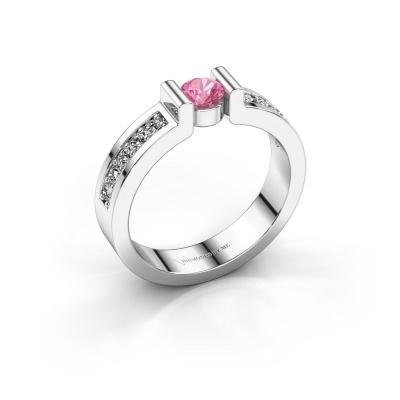 Verlovingsring Isabel 2 925 zilver roze saffier 4 mm