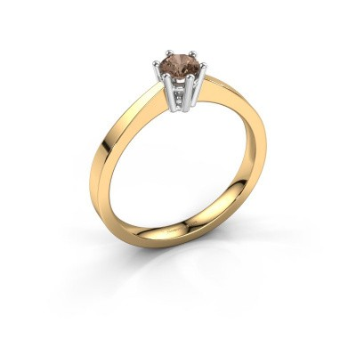 Engagement ring Noortje 585 gold brown diamond 0.25 crt
