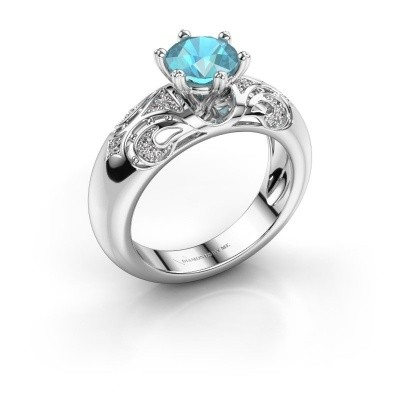 Ring Maya 585 Weißgold Blau Topas 6.5 mm