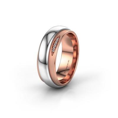 Trouwring WH2038L 585 rosé goud diamant ±7x2.4 mm