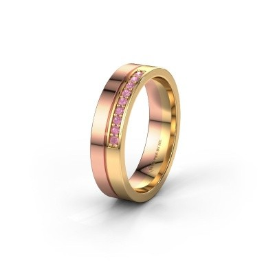 Wedding ring WH0213L15AP 585 rose gold pink sapphire ±0.20x0.07 in