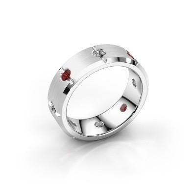 Men's ring Irwin 950 platinum garnet 2.7 mm