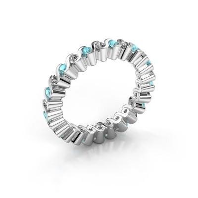 Aanschuifring Faye 925 zilver blauw topaas 2 mm
