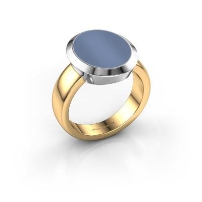 Foto van Zegelring Oscar 4 585 goud licht blauwe lagensteen 15x12 mm
