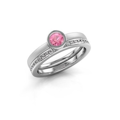 Ring Cara 585 witgoud roze saffier 4 mm