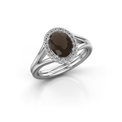 Engagement ring Rachele 1 950 platinum smokey quartz 8x6 mm