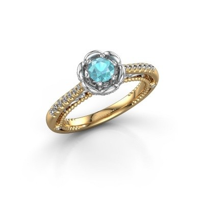 Picture of Engagement ring Abbey 585 gold blue topaz 4.2 mm
