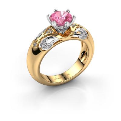Ring Maya 585 goud roze saffier 6.5 mm
