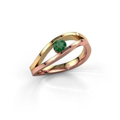 Foto van Ring Sigrid 1 585 rosé goud smaragd 4 mm